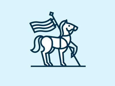 Horse holding flag