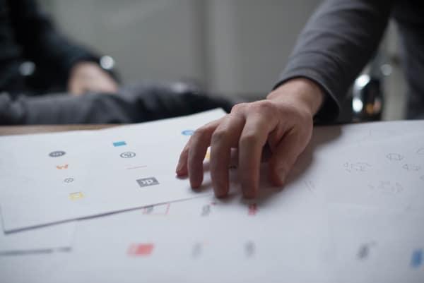 hand over logo design printout