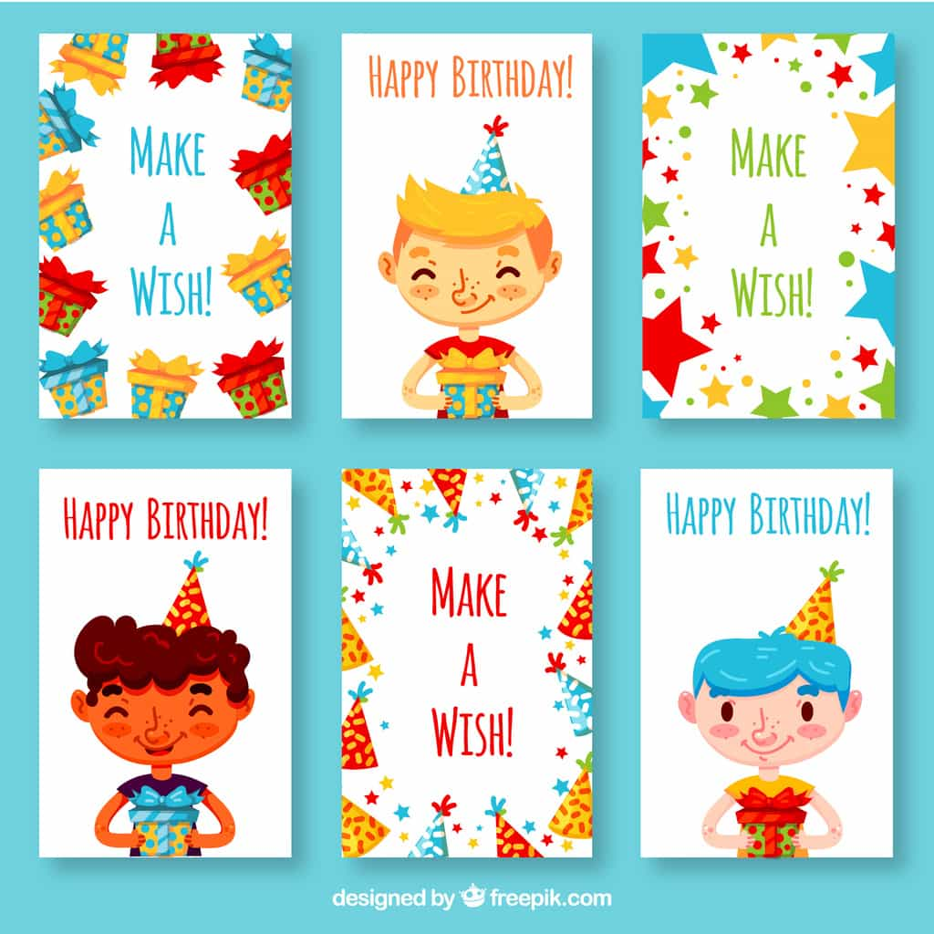 birthday cards with stars and hats
