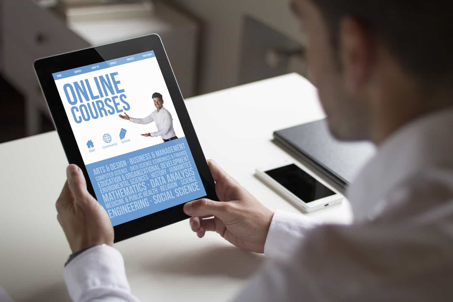 businessman online courses with tablet pc