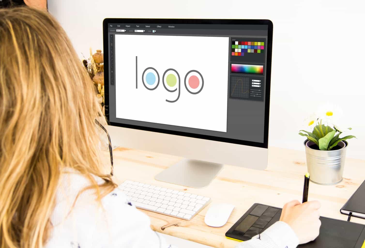 freelance girl designing a logo