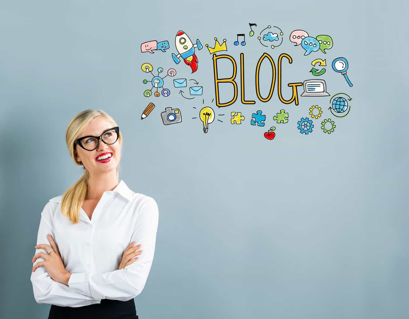 Blog text with business woman