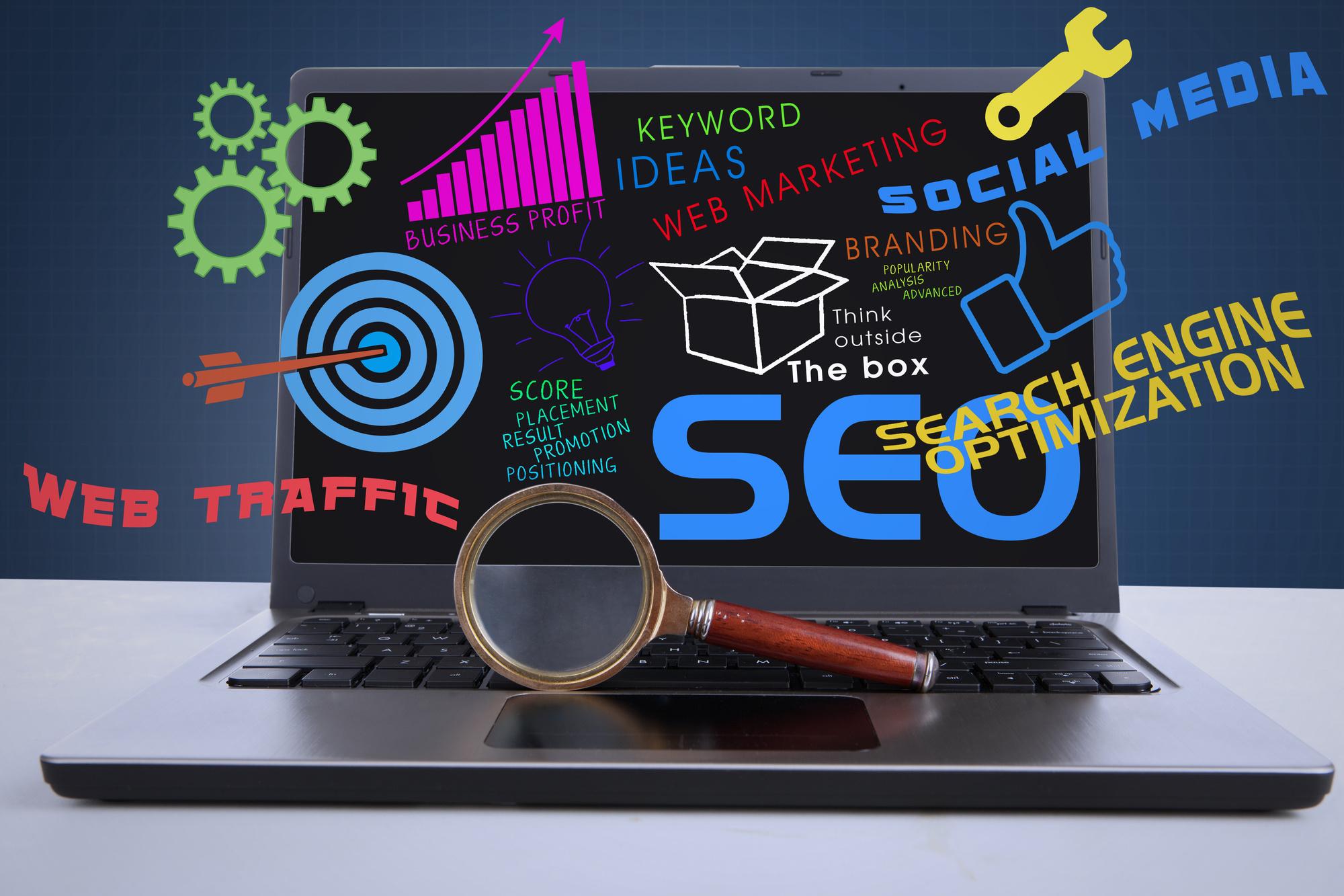 SEO internet concept on laptop