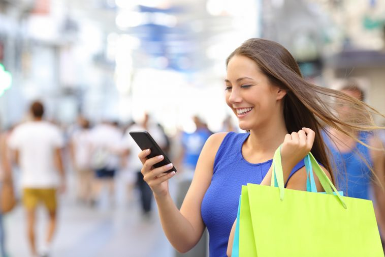 Women Shopping with mobile