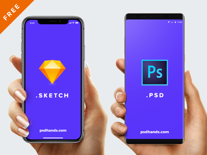 Hand with iPhone X :8:Android: Free Mockup PSD/SKETCH by lazymau