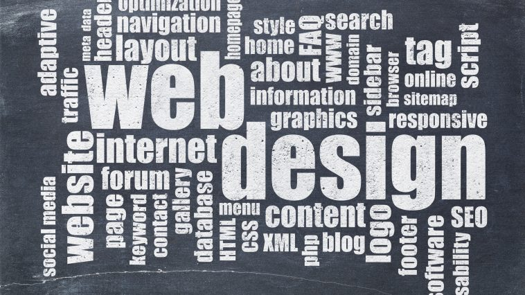web design word cloud on blackboard