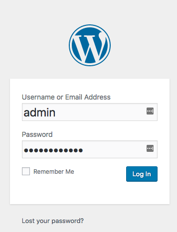 Wordpress Login Screen Page