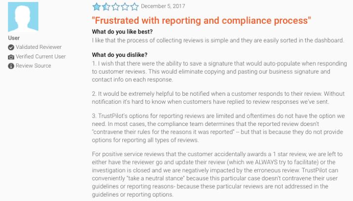 customer reviews for Trustpilot