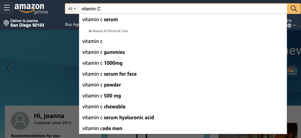vitamin C to the search bar