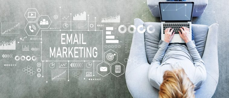 Email marketing with man using a laptop